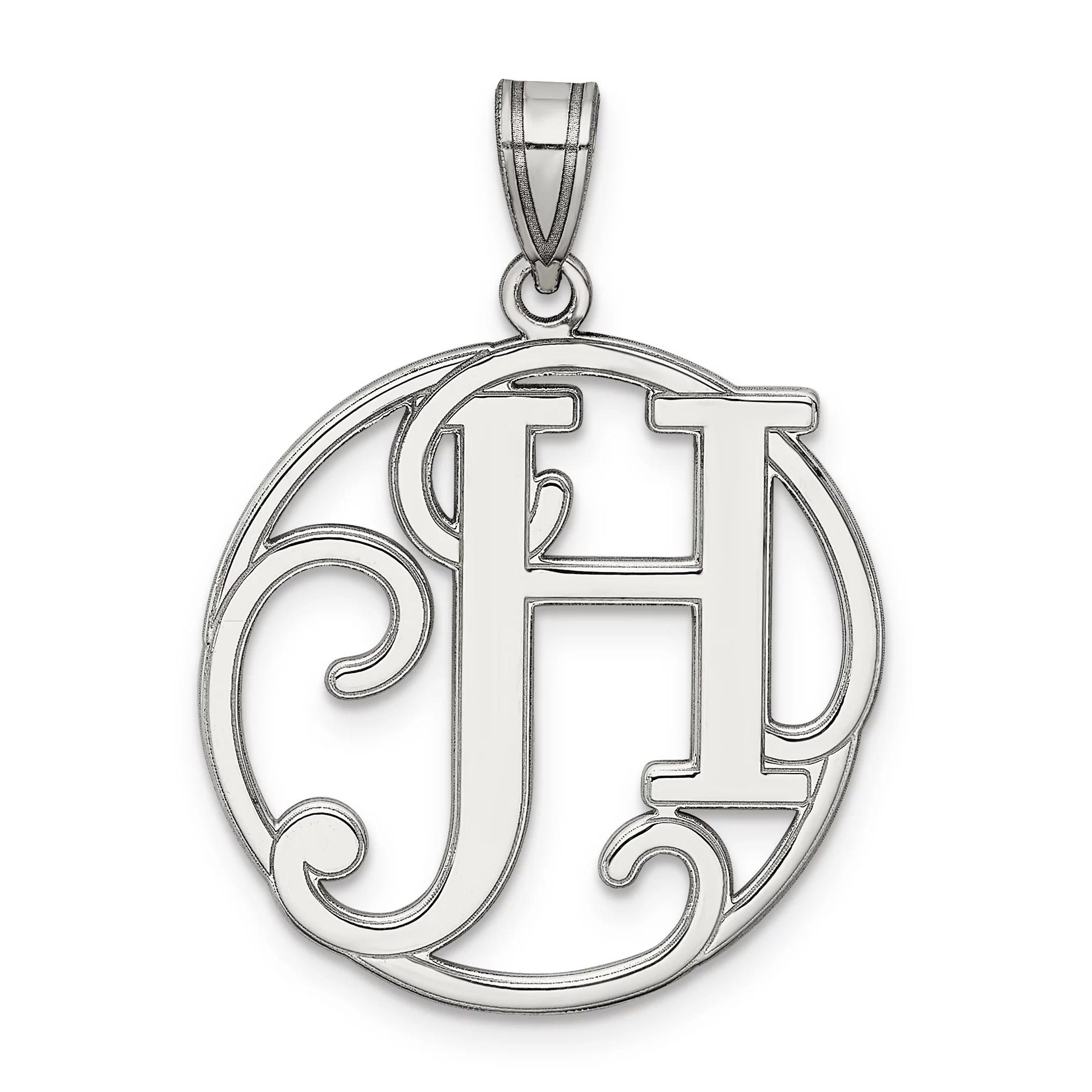 925 Sterling Silver Script Initial Monogram Name Letter H