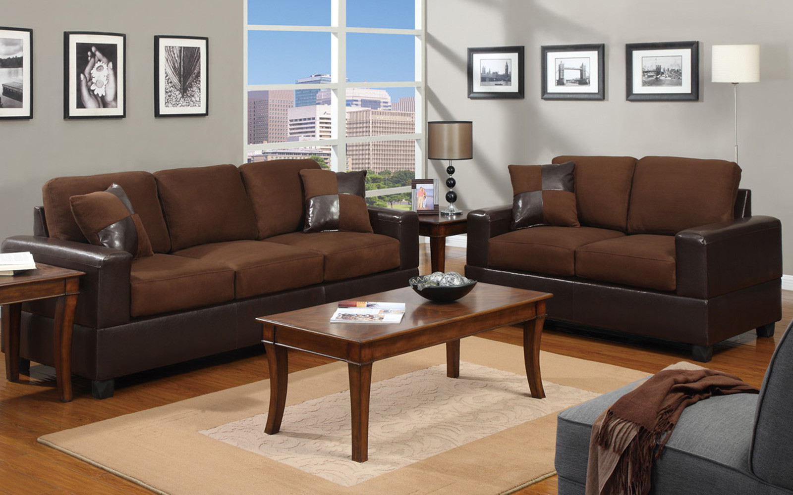 2 piece brown leather sofa donate in nyc modern microfiber and faux love seat livingroom set walmart com