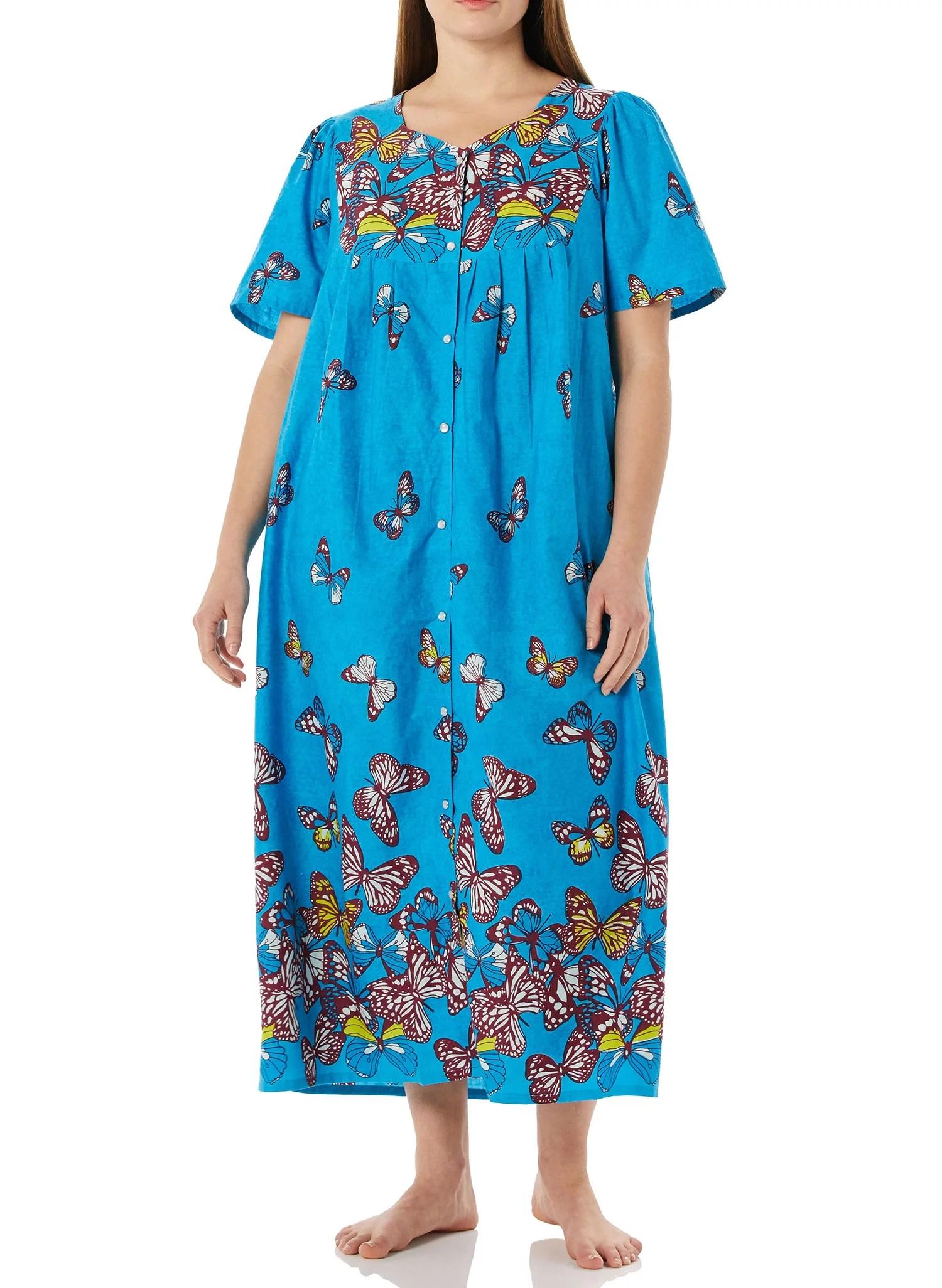 amerimark women s long house dress with pockets short sleeve patio dress