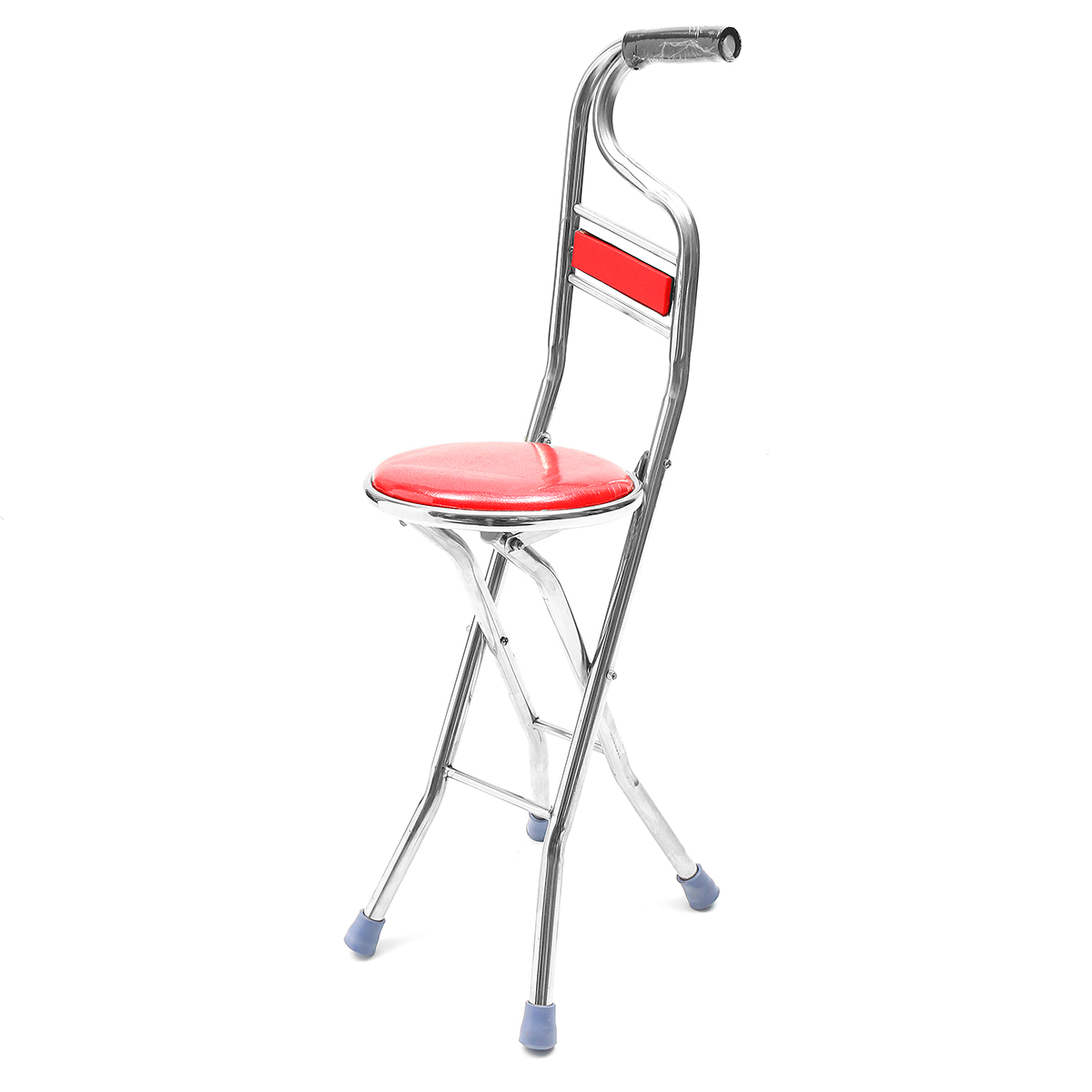 Walking Chair 2 In 1 Walking Stick Chair Seat Adjustable Stainless Steel