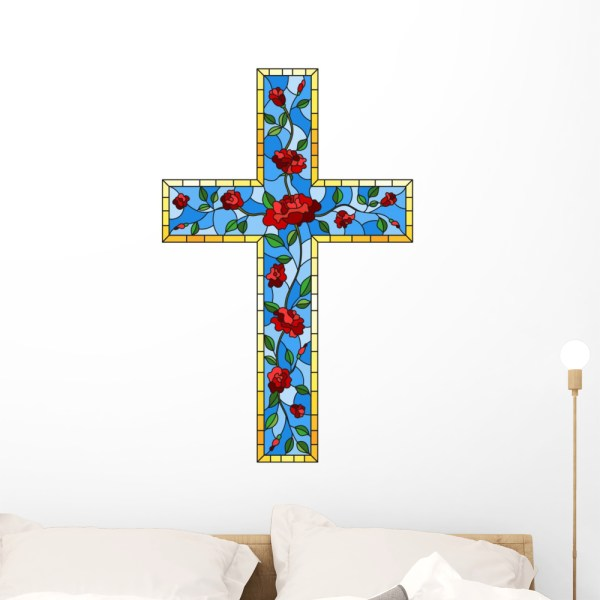 Stained Glass Roses Cross Wall Decal Wallmonkeys Peel And