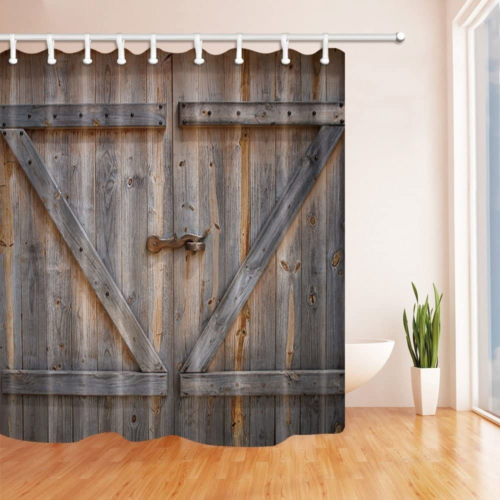 rustic shower curtain old wooden barn door of farmhouse oak countryside village board rural life photo print fabric bathroom set with hooks brown