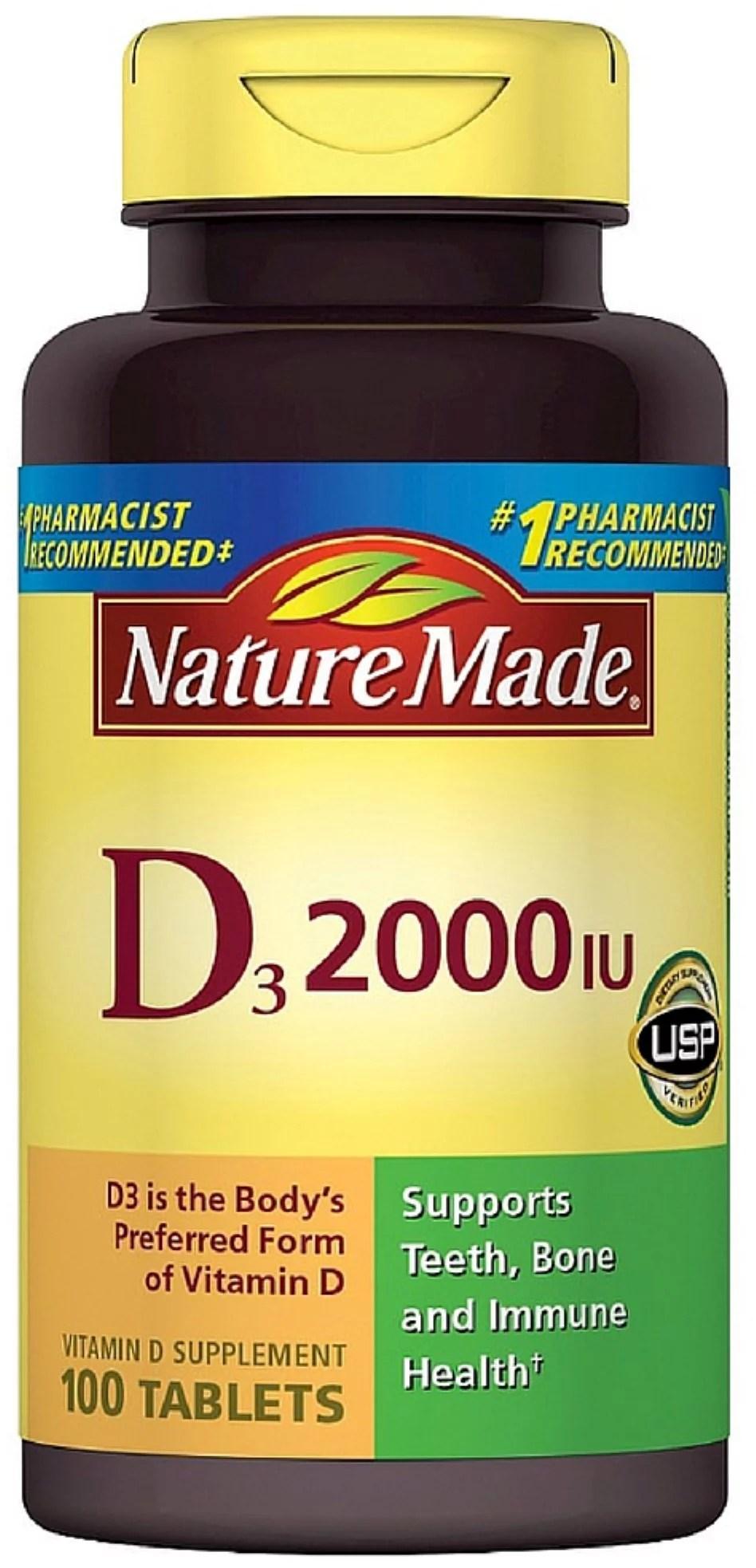 2 Pack - Nature Made Vitamin D3 2000 IU Tablets 100 ea ...