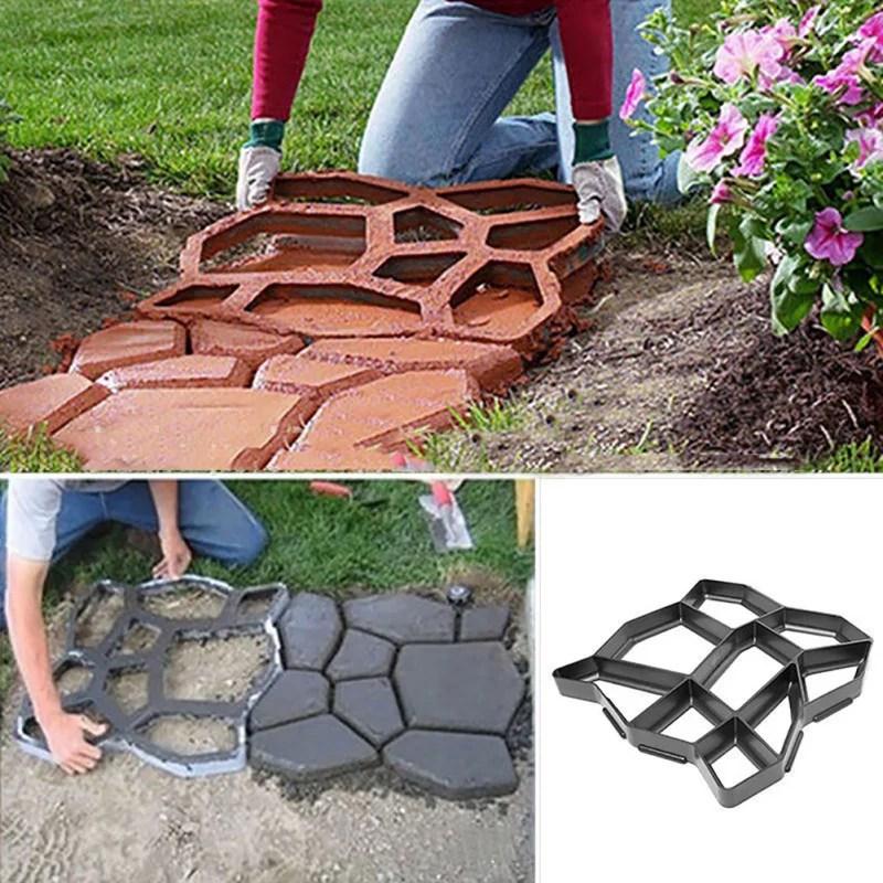 walk maker reusable concrete path maker molds stepping stone paver lawn patio yard garden diy walkway pavement paving moulds irregular