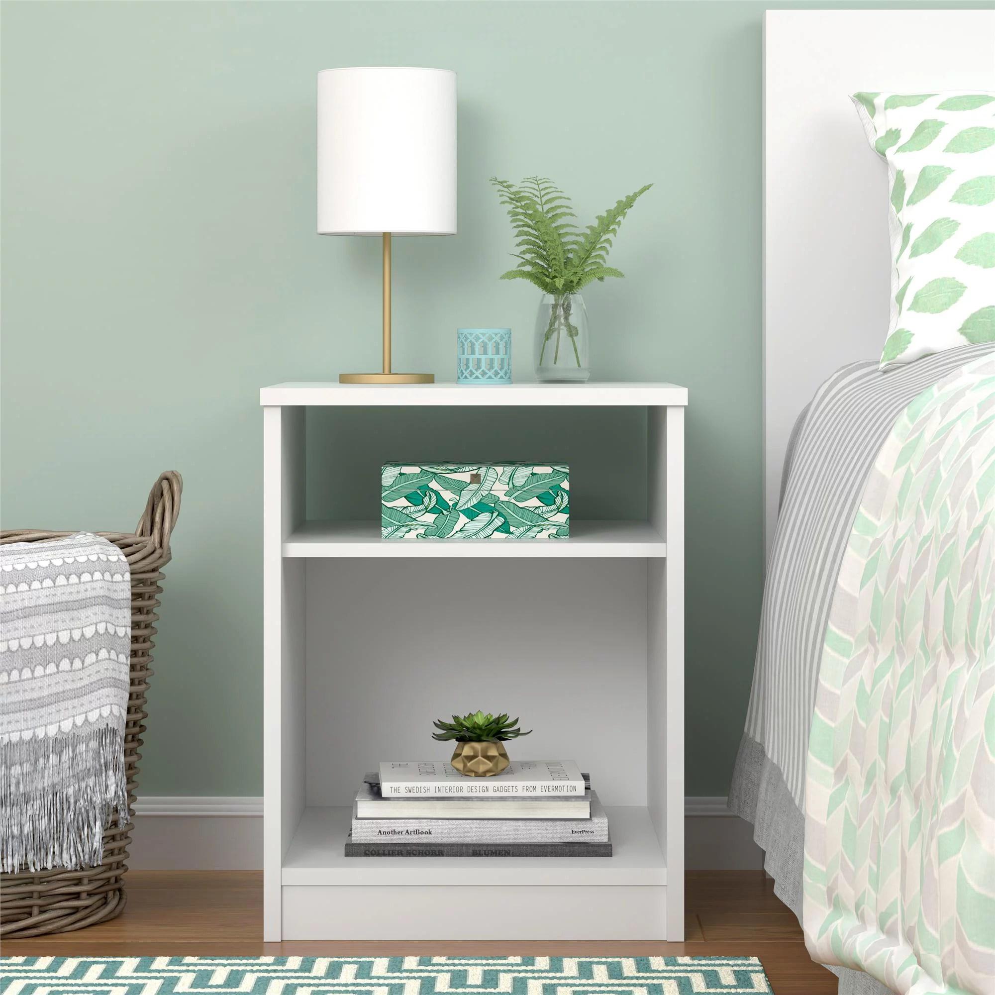 mainstays classic open shelf nightstand white