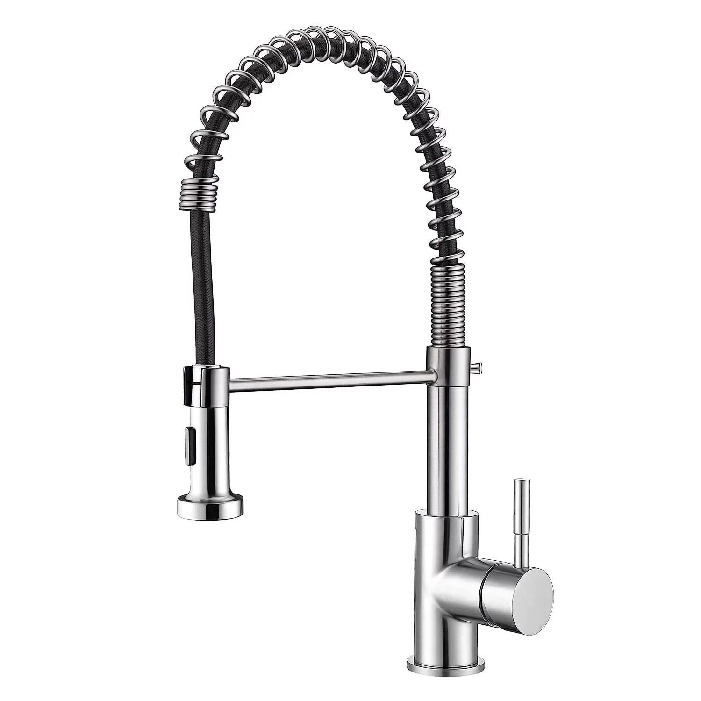 skygenius single handle pull down kitchen faucet spring sprayer brushed nickel sink faucet
