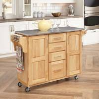 Home Styles Stainless Steel-Top Kitchen Cart With ...
