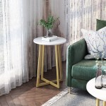 Langria Round Side Table X Shaped Small End Coffee Accent Table With Faux White Marble Top Sturdy Golden Metal Frame Modern Nightstand White Golden Walmart Com Walmart Com
