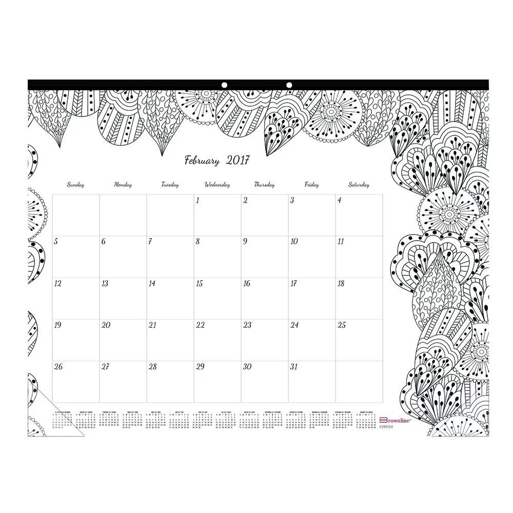 Blueline Monthly Coloring Pages Desk Pad Calendar, 22