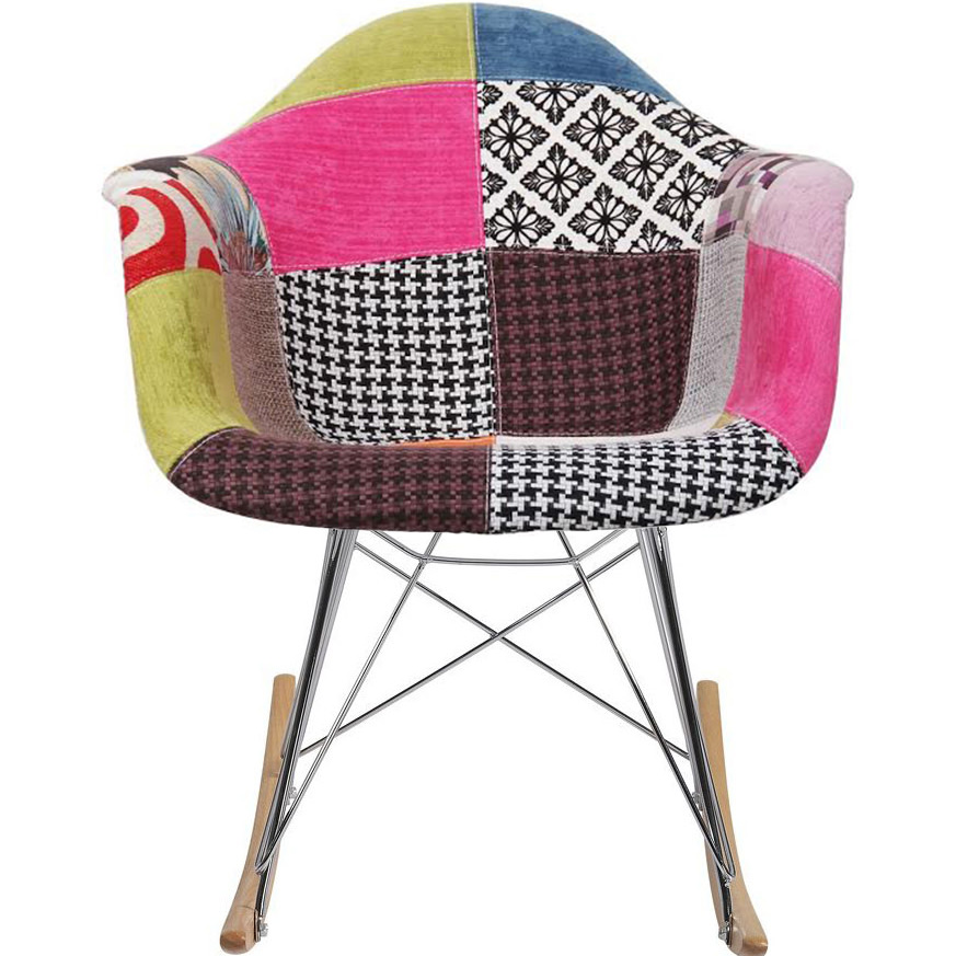 tub fabric accent chair patchwork revolving in bangladesh 2xhome multi color modern upholstered armchair pattern rocker chrome steel eiffel base nursery living room walmart com