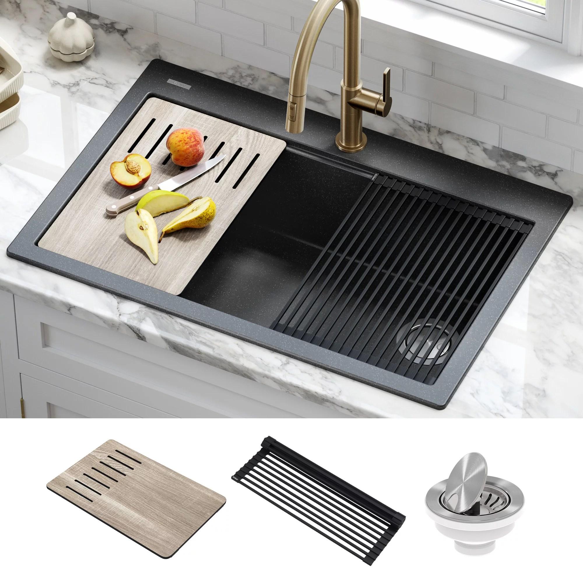 kraus bellucci workstation 33 inch drop in granite composite single bowl kitchen sink in metallic black with accessories walmart com