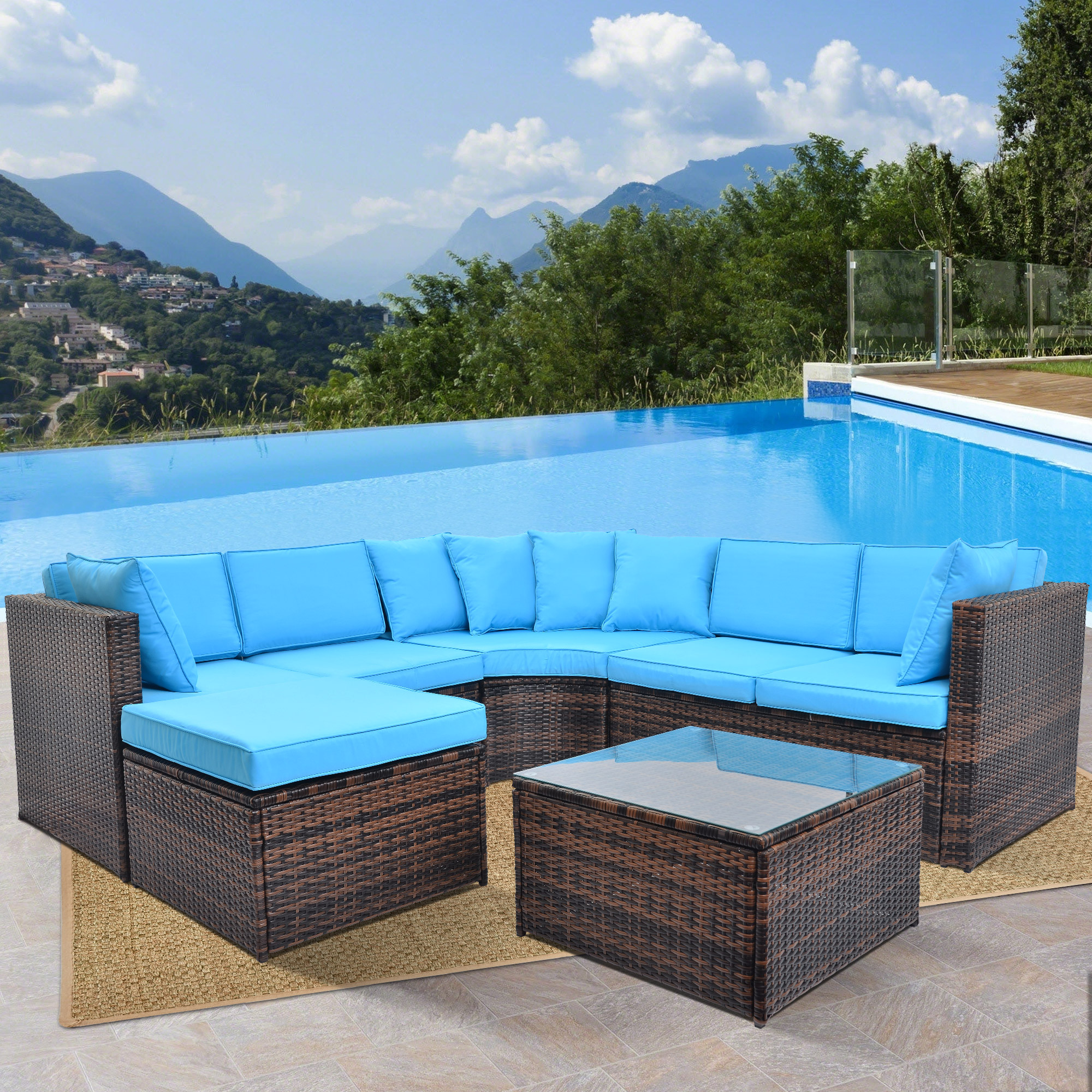 jumper 5 pcs patio furniture set outdoor sectional conversation set with soft cushions cushion blue