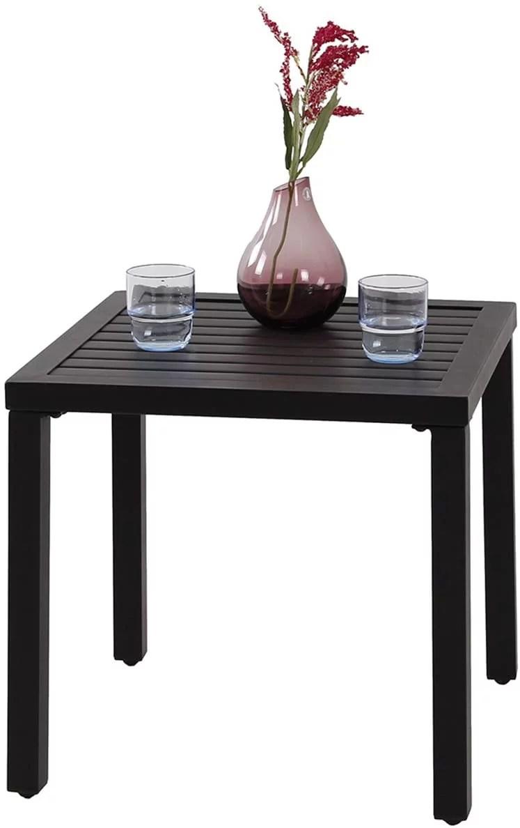 phi villa indoor outdoor small metal square side end table patio coffee bistro table black
