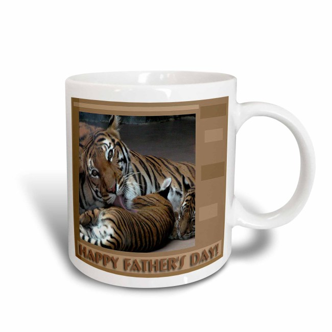 3dRose Tiger with Cubs, Happy Fathers Day, Ceramic Mug, 11-ounce