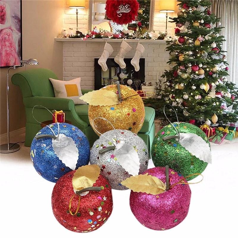 6pcs multicolor glitter apple