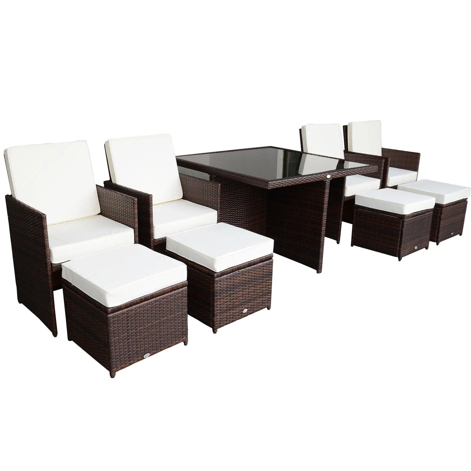 outsunny 9 piece pe rattan wicker outdoor nesting patio dining table set walmart com