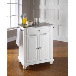 Crosley Kitchen Island Cart With Stools Furniture Cambridge Stainless Steel Top Portable ...