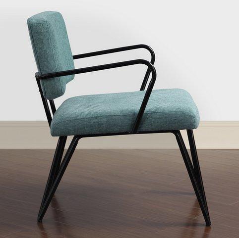 Aqua Blue Retro Upholstered Fabric Mid Century Accent