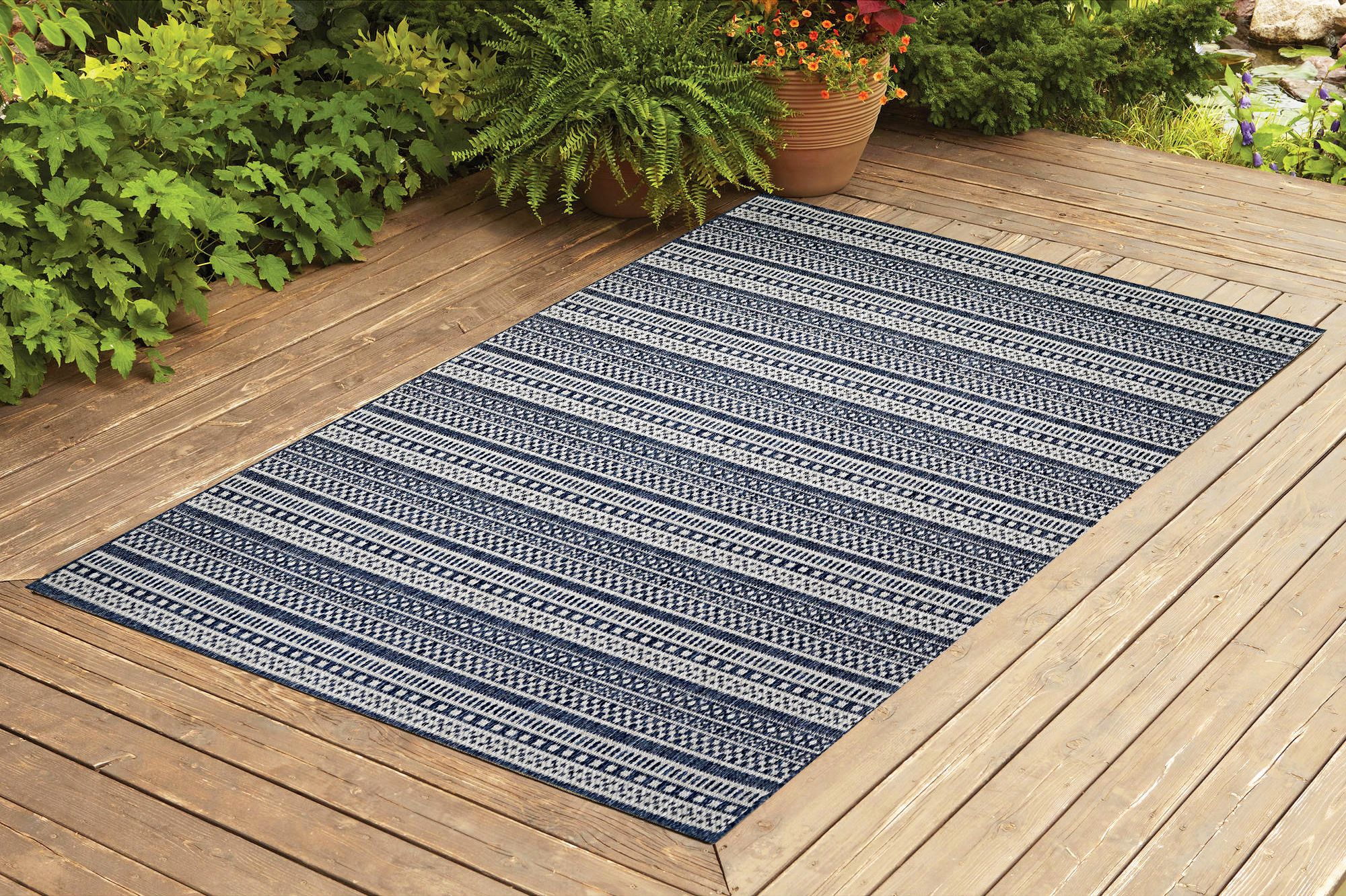 benissimo contemporary indoor outdoor area rug stripes collection i 5x7 i navy