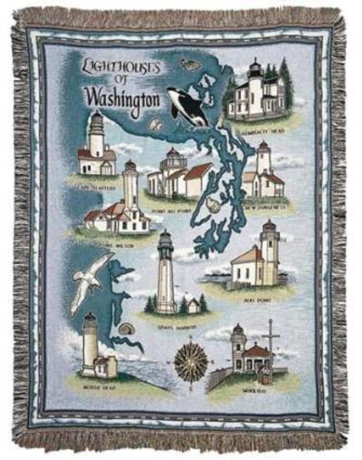 Lighthouses of Washington State Tapestry Throw Blanket 50