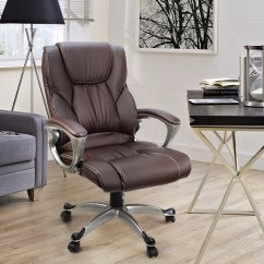 Pu Leather Office Chair Chairs And Ottomans Xtremepowerus High Back Executive Ergonomic Swivel Lift Brown Walmart Com