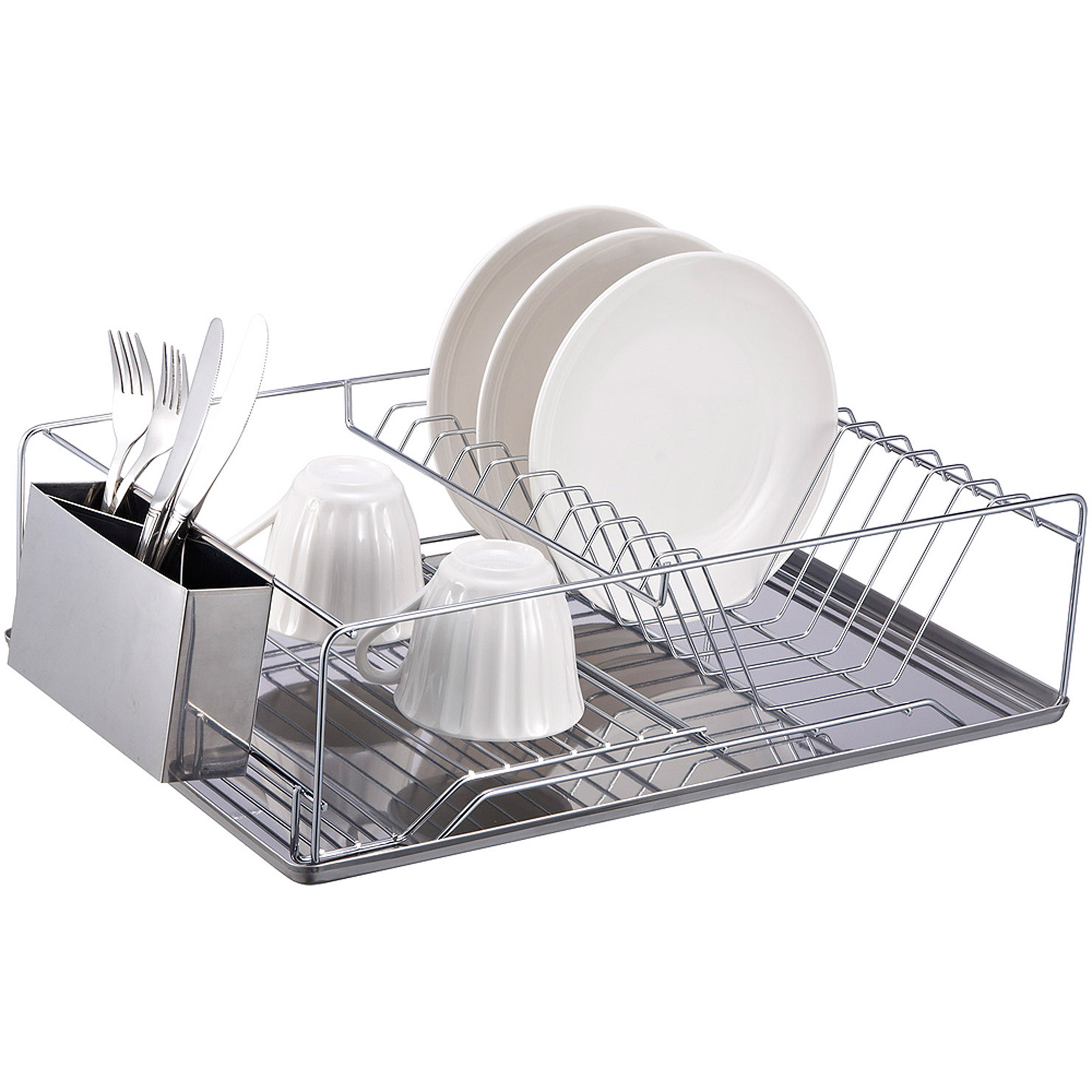 kitchen tray cupboard gadgets home basics chrome plated steel dish rack with stainless walmart com