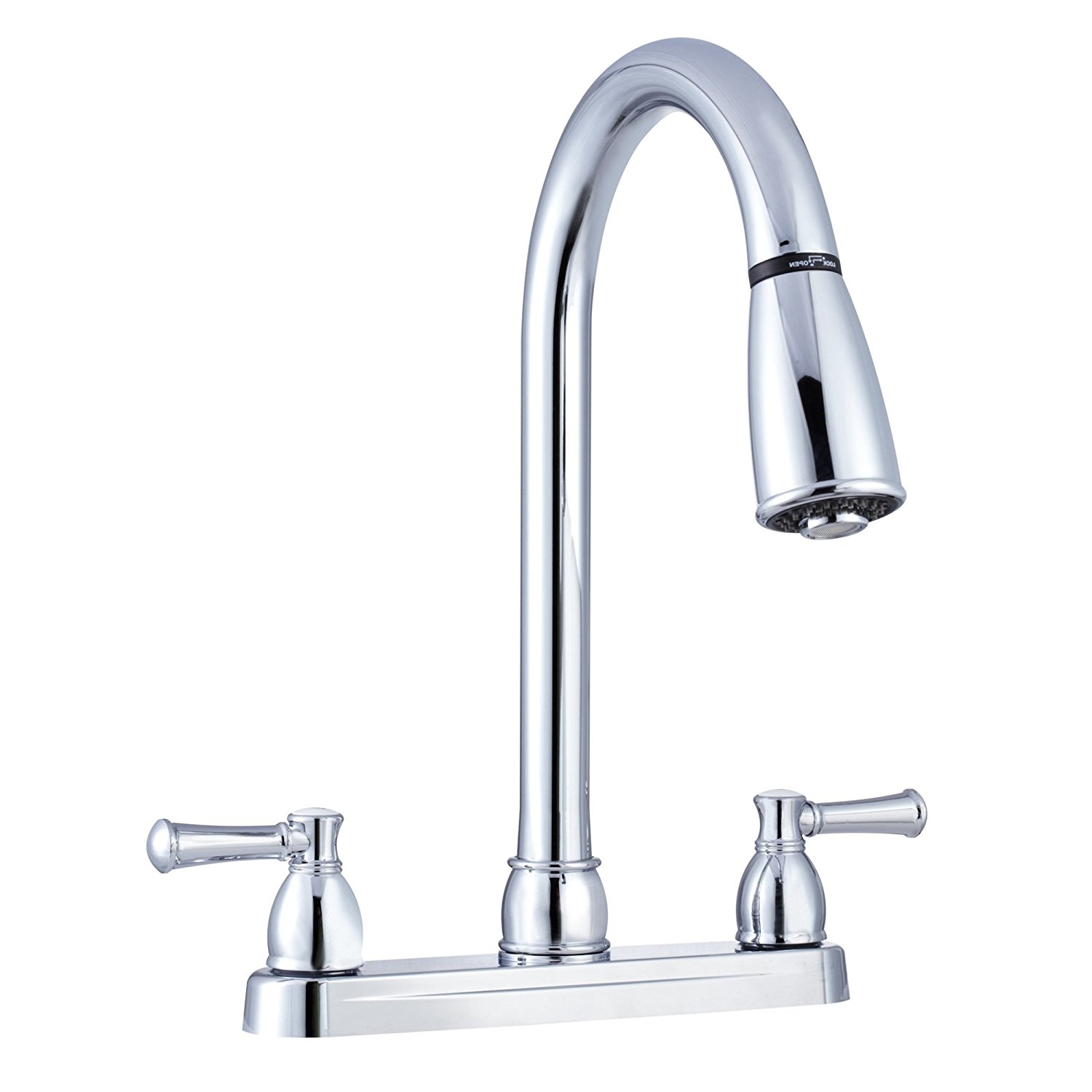 df pk350l cp non metallic dual lever pull down rv kitchen faucet replacement faucet for motorhomes 5th wheel trailer camper chrome by dura