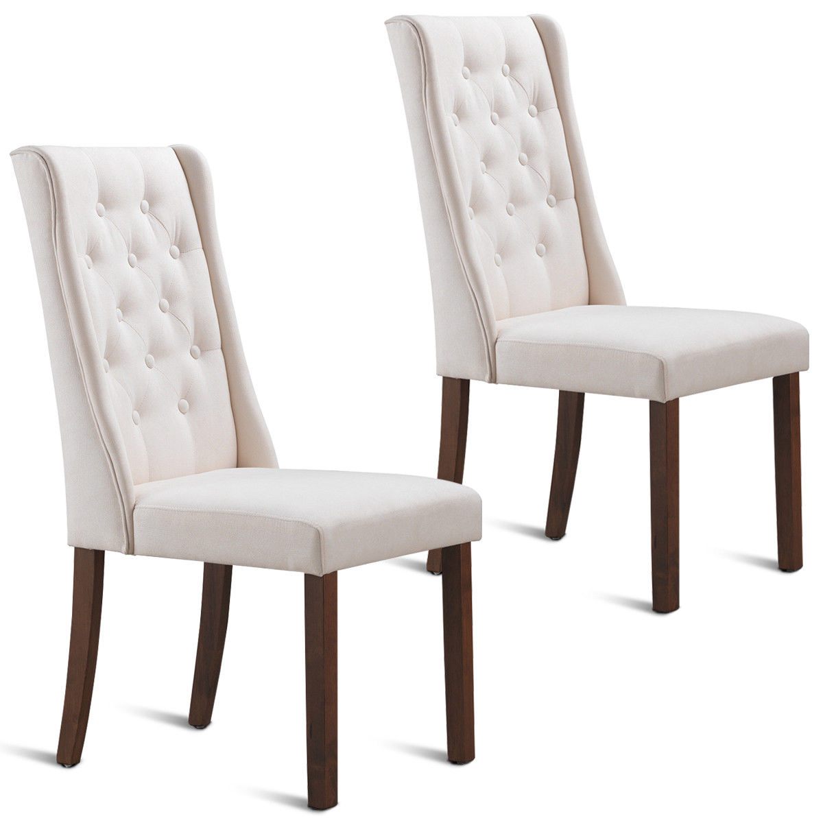 Set Of Accent Chairs Gymax Set Of 2 Fabric Dining Chairs Armless Tufted Accent