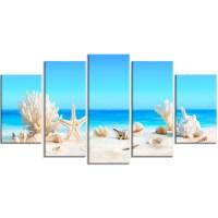 Design Art 'Seashells on Tropical Beach' 5 Piece Wall Art ...