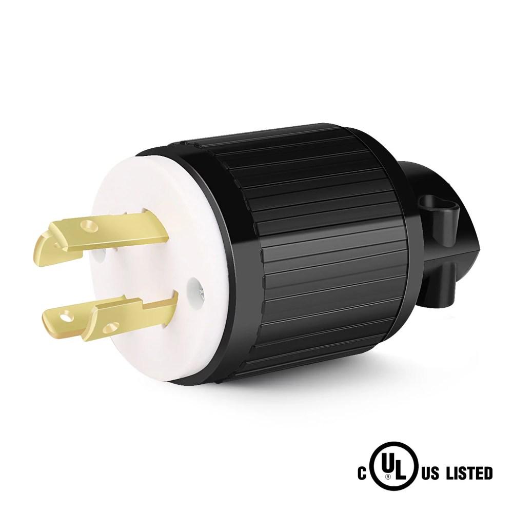 medium resolution of nema l14 30p generator plug 30 amp 125 250 volt 4 prong industrial grade locking male cord connector adapter grounding type ul listed walmart com