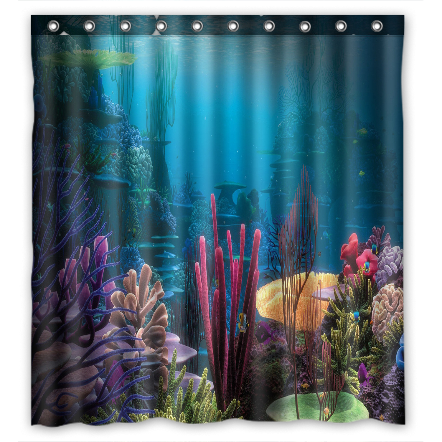 zkgk underwater world sea life ocean animals fish coral waterproof shower curtain bathroom decor sets with hooks 66x72 inches