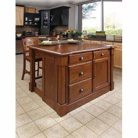 Home Styles Aspen Rustic Cherry Kitchen Island and 2 Bar ...