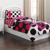 Minnie Mouse Black & Pink Polka Dots Twin Comforter ...