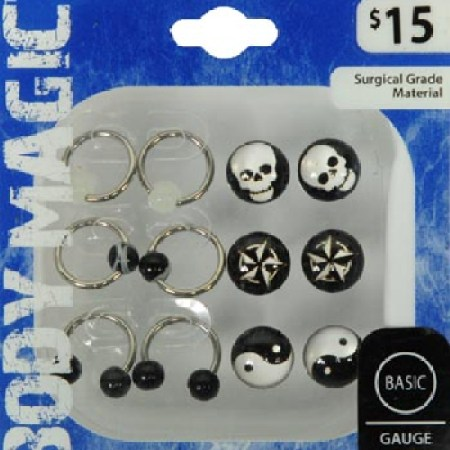 Physique Magic Surgical Stainless Metal Earring and Stomach Jewellery, 6pk 9d8829b2 987d 4440 be52 dc566ff8b7ca 1