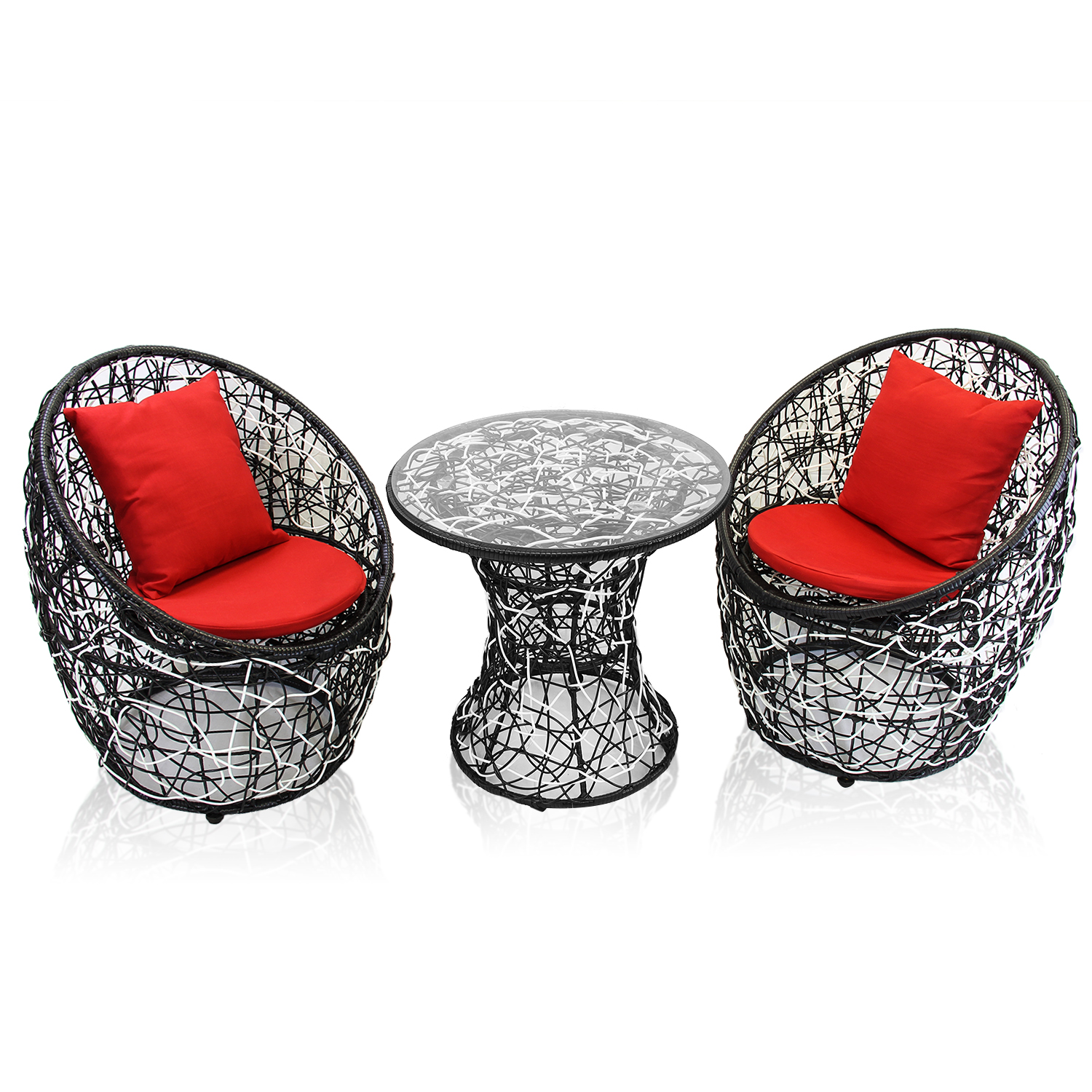 2 chairs and table rattan recliner chair with laptop dl furniture 1 combination round circle lounge plastic