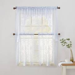 Swag Curtains For Kitchen Do It Yourself Outdoor No 918 Alison Sheer Lace Curtain Valance Tier Or Walmart Com