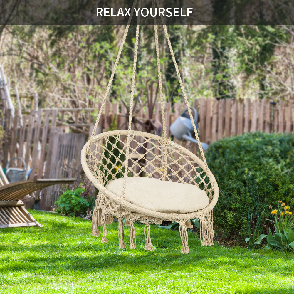 hanging chair rope flexsteel prices hurrise hammock indoor outdoor cotton macrame lounge swing w fringe tassels beige walmart com