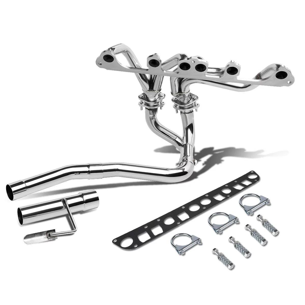 hight resolution of for 91 99 jeep wrangler yj tj 4 0l l6 chrome 4 2 1 tri y performance header exhaust manifold walmart com