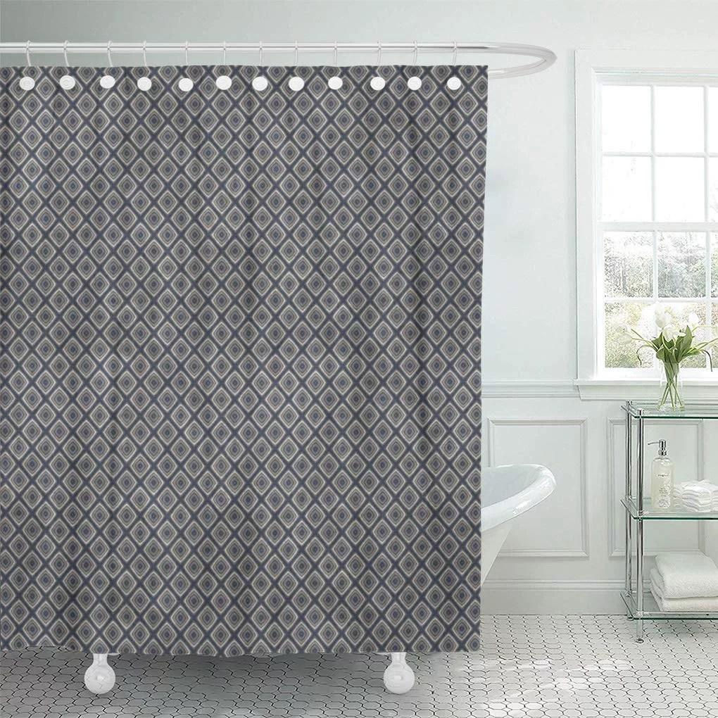 suttom gray retro masculine geometric squares pattern blue and cream shower curtain 60x72 inch walmart com