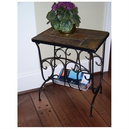 tuscan style metal magazine end table with slate top