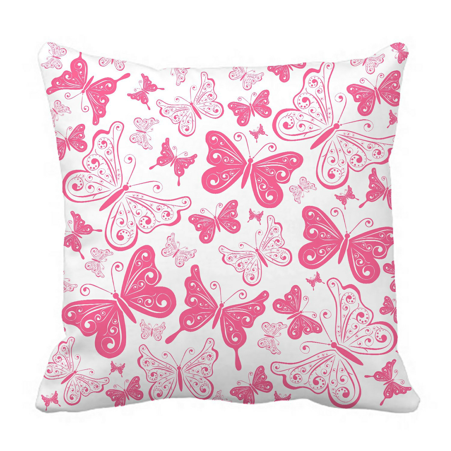 eczjnt pink butterfly pillow case pillow cover cushion cover 16x16 inch