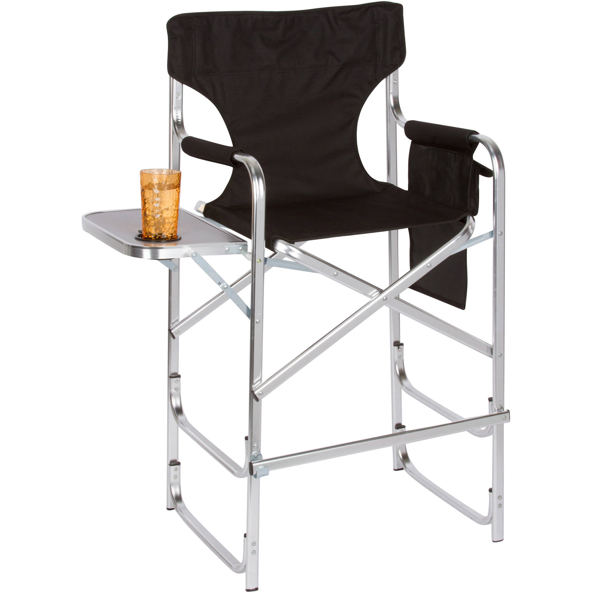 Aluminum Frame Tall Directors Chair With Side Table by