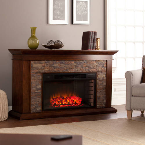 Bentley Electric Fireplace with Faux Stone Whiskey Maple  Walmartcom