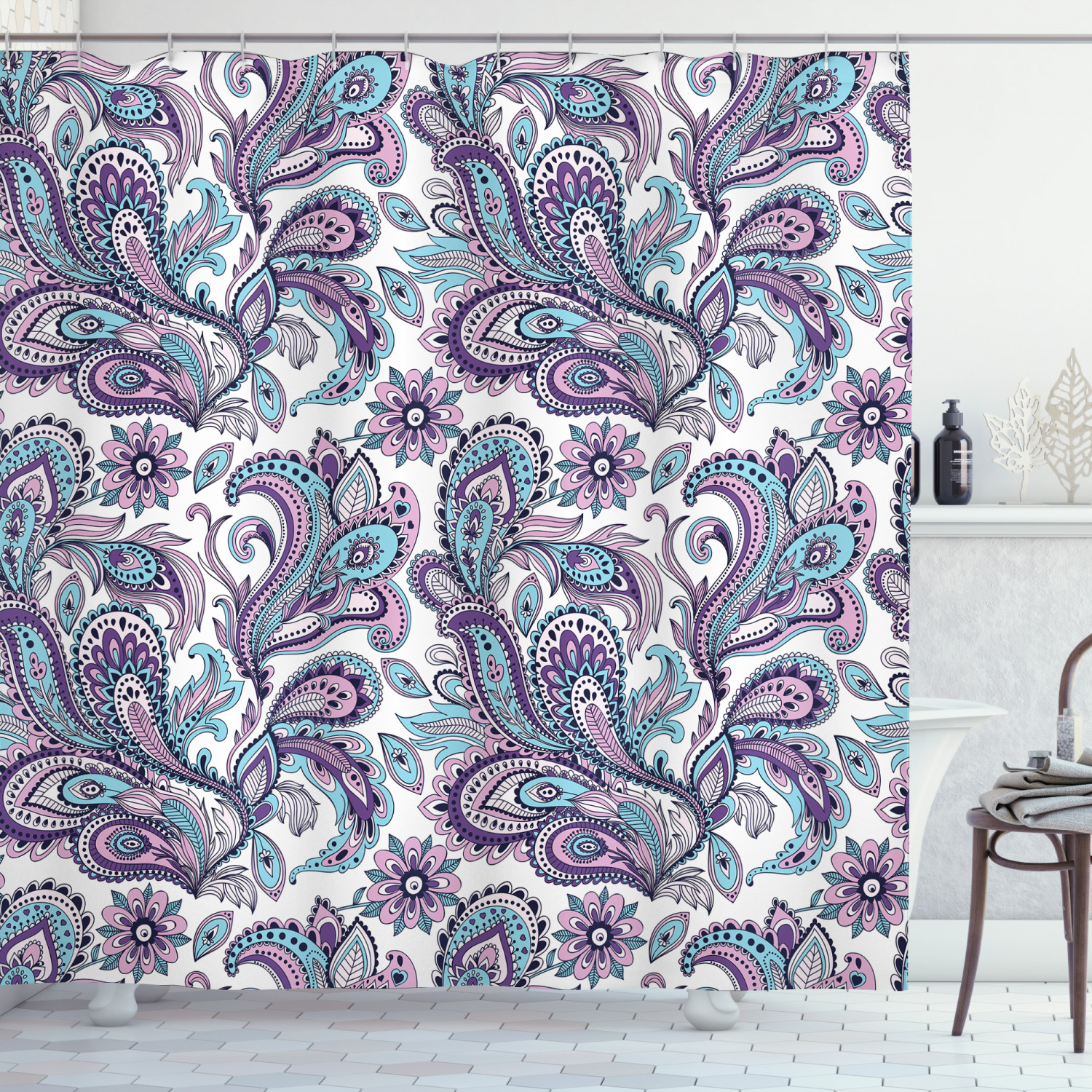 paisley shower curtain blue and purple flowers leaves floral pattern bohemian style country print fabric bathroom set with hooks white purple blue