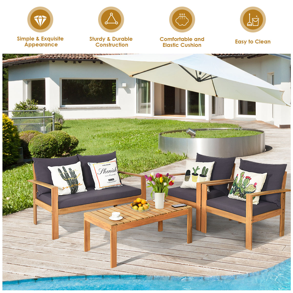 gymax 4pcs cushioned wooden conversation set patio outdoor furniture set