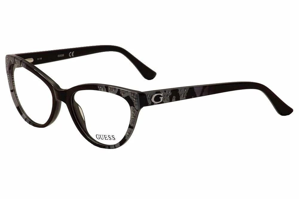 Guess Eyeglasses GU2554 GU/2554 001 Black/Blue Cat Eye