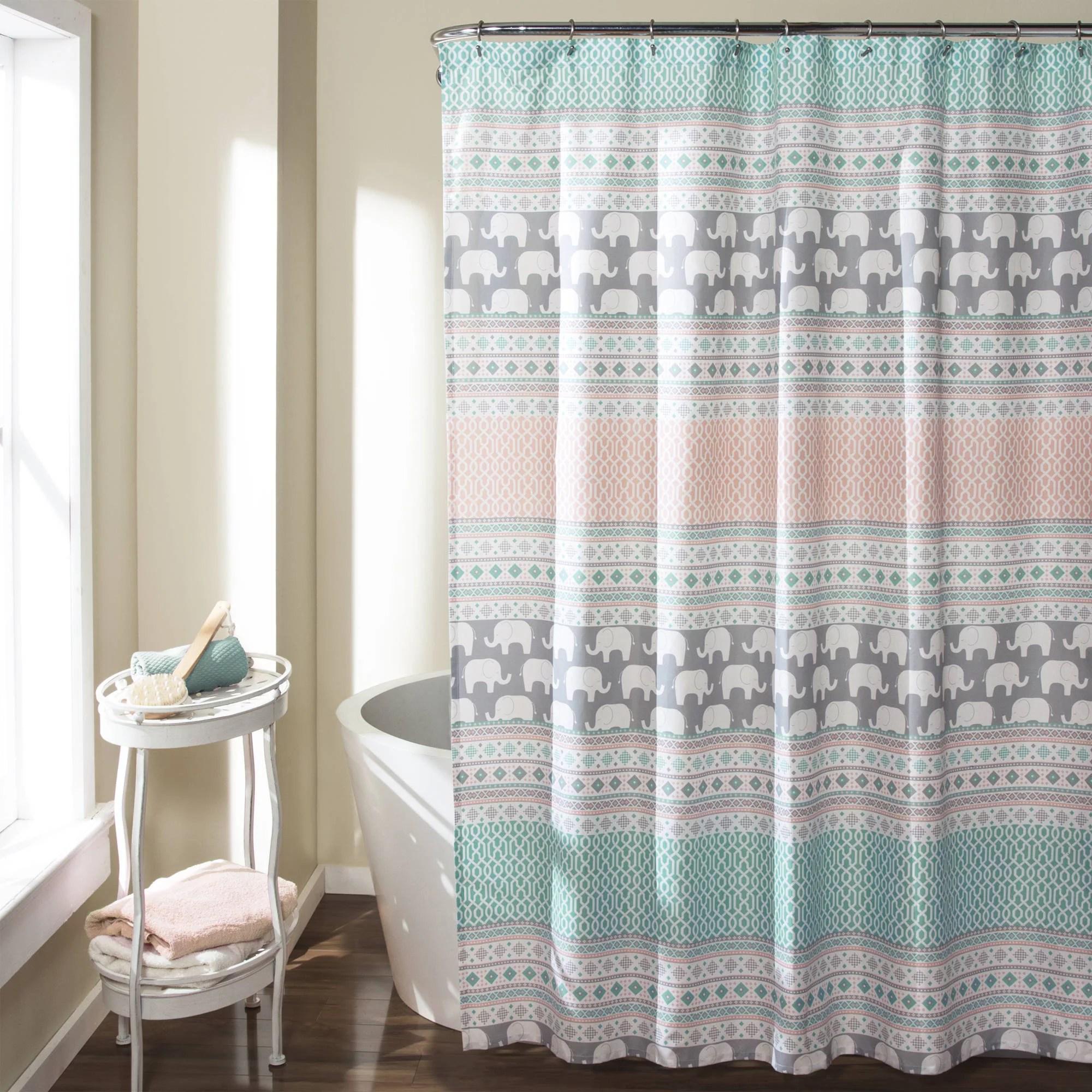 Elephant Stripe Shower Curtain TurquoisePink