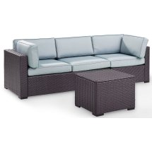 Biscayne 3 Person Outdoor Wicker Seating Set In Mist