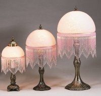Meyda Tiffany Victorian Glass Globe Pink Fringed 8'' H ...