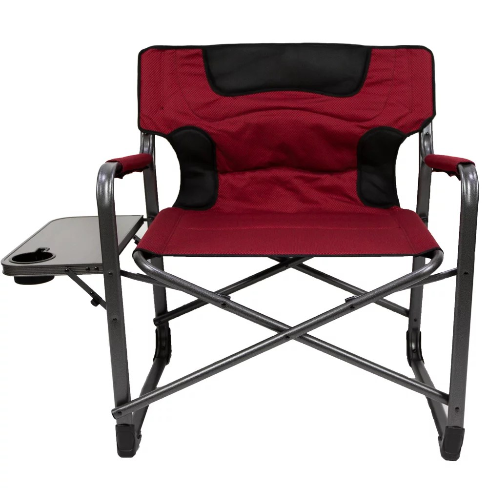 Personalized Directors Chair Ozark Trail Xxl Folding Padded Director Chair With Side Table Red 600 Lb Capacity